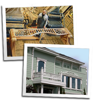 A custom wood spandrel on the shop floor and custom gingerbread on a home in San Francisco
