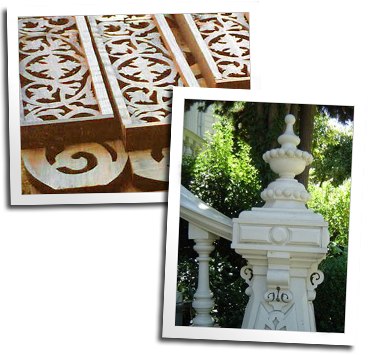 Custom Victorian scrollwork and a custom finial for the governor's mansion in Sacramento