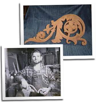 Eric Hollenbeck poses with a piece of custom Victorian scrollwork