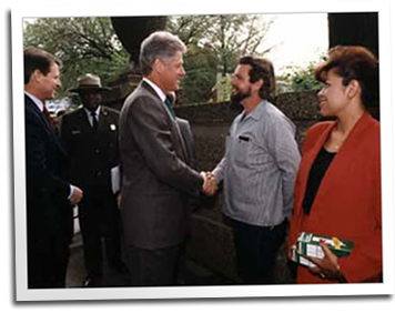 Eric Hollenbeck shakes hands with President Clinton