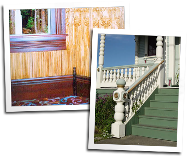 Moldings can be found along floors, they also make hand rails for this decorative balustrade