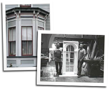 Custom wood double hung windows and an old photo of windows on their way to Unalaska