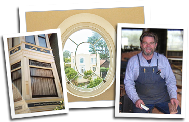 A double hung window, a circular window, and mill founder Eric Hollenbeck