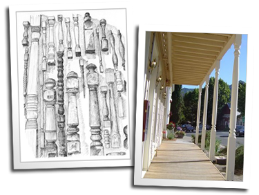 A sketch of turnings from the lathe room wall and custom columns for the Hopland Inn