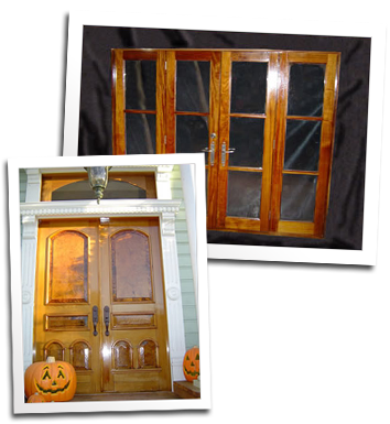 Redwood entry doors with burl panels and African mahogany French doors