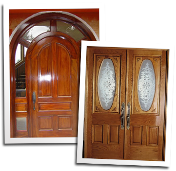 Arched top mahogany entry door and custom oak entry doors
